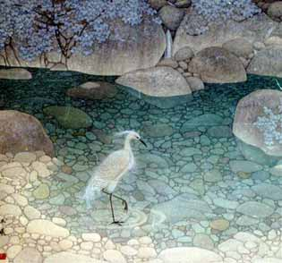 Chinese Painting: Egret in Limpid Pond